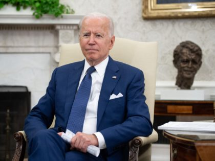 US President Joe Biden looks on during a meeting with Iraqi Prime Minister Mustafa Al-Kadhimi in the Oval Office of the White House in Washington, DC, July 26, 2021. (Photo by SAUL LOEB / AFP) (Photo by SAUL LOEB/AFP via Getty Images)