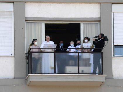 """Pope Francis leads the Sunday's Angelus prayer from the Gemelli Hospital, in Rome, on July 11, 2021, where he is recovering from colon surgery. - Pope Francis has had """"satisfactory blood tests"""" as he recuperates from colon surgery and is gradually starting to work again, according to the daily bulletin …"""