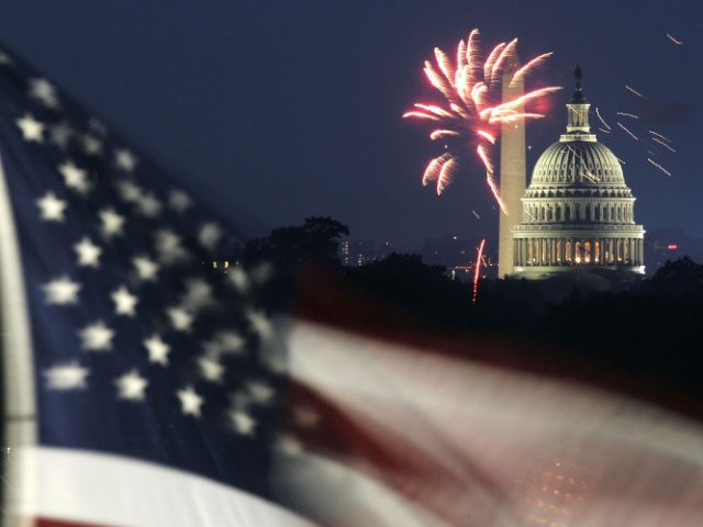 Fireworks explode in the sky above the Washington Monument and the U.S. Capitol, as a U.S. flag is seen in the foreground, while the nation celebrates its 229th birthday July 4, 2005 in Washington, DC. Hundreds of thousands of people took part to celebrate the anniversary of the adoption of …