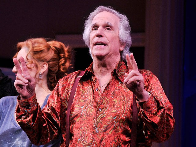 """NEW YORK, NY - NOVEMBER 14: Actor Henry Winkler attends the curtain call for the opening night of """"The Performers"""" on Broadway at Longacre Theatre on November 14, 2012 in New York City. (Photo by Stephen Lovekin/Getty Images)"""
