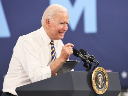 MACUNGIE, PENNSYLVANIA - JULY 28: U.S. President Joe Biden speaks at Mack Truck Lehigh Valley Operations on July 28, 2021 in Macungie, Pennsylvania. President Biden spoke to a crowd of supporters at Mack Truck Lehigh Valley Operations about the importance of manufacturing in America and buying products made in America …