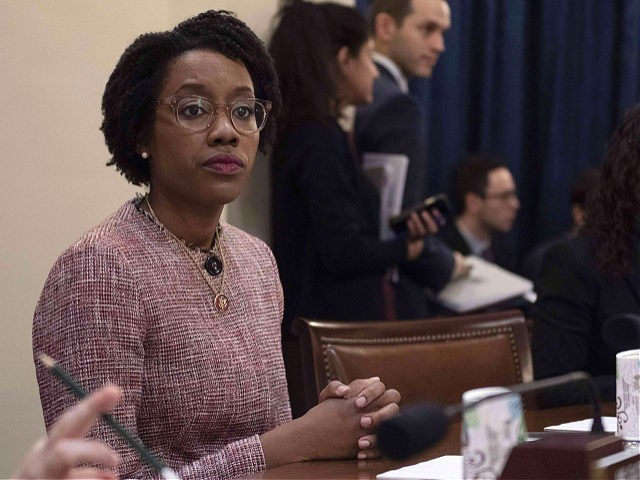 US Congresswoman Lauren Underwood (L), D-IL, listens as Homeland Security Secretary Kirstjen Nielsen testifies before the House Homeland Security Committee on border security on Capitol Hill in Washington, DC, March 6, 2019. (Photo by Jim WATSON / AFP) (Photo credit should read JIM WATSON/AFP via Getty Images)