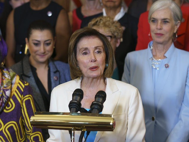 Speaker of the House Nancy Pelosi, D-Calif., talks at a news conference with the Democratic Women's Conference about the care economy, on Capitol Hill in Washington, Thursday, July 1, 2021. (AP Photo/J. Scott Applewhite)
