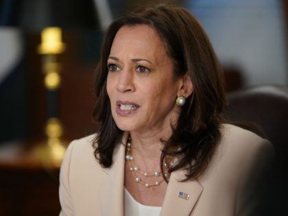 US Vice President Kamala Harris speaks on the anniversary of the Deferred Action for Childhood Arrivals program in the Ceremonial Office in the Eisenhower Executive Office Building, next to the White House, in Washington, DC on June 15, 2021. (Photo by MANDEL NGAN / AFP) (Photo by MANDEL NGAN/AFP via …