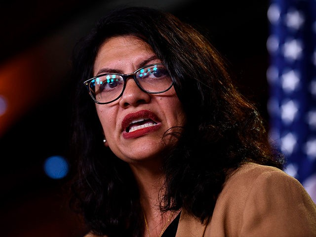 US Representative Rashida Tlaib (D-MI) speaks during a press conference, to address remarks made by US President Donald Trump earlier in the day, at the US Capitol in Washington, DC on July 15, 2019. - President Donald Trump stepped up his attacks on four progressive Democratic congresswomen, saying if they're …