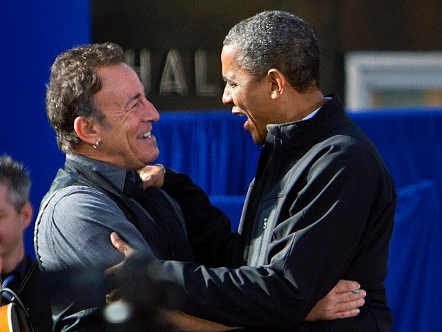 MADISON, WI - NOVEMBER 5: Bruce Springsteen and U.S. President Barack Obama stadn on stage during a campaign rally November 5, 2012 in Madison, Wisconsin. With only one day left until the presidential election, Obama is making final campaign appearances in Wisconsin, Iowa and Illinois in a last-minute rush to …