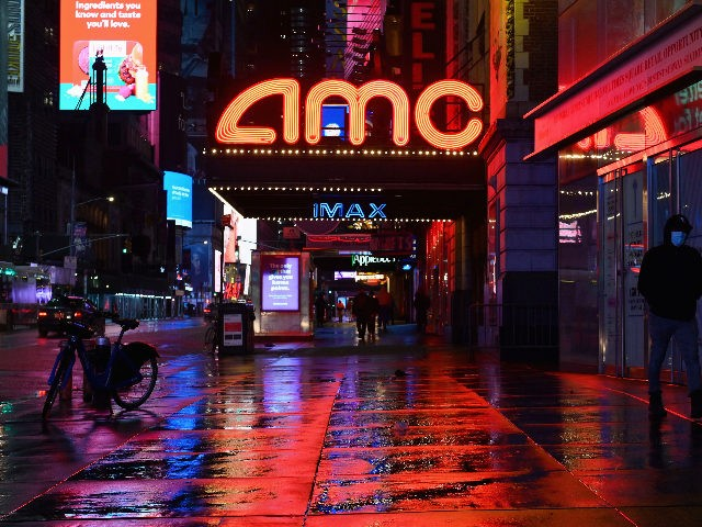 View of a closed AMC movie theater near Time Square on October 12, 2020 in New York City. - The Broadway League, a trade organisation representing producers and theater owners, announced that performances in New York City will be suspended through May 30, 2021 due to the coronavirus outbreak. (Photo …