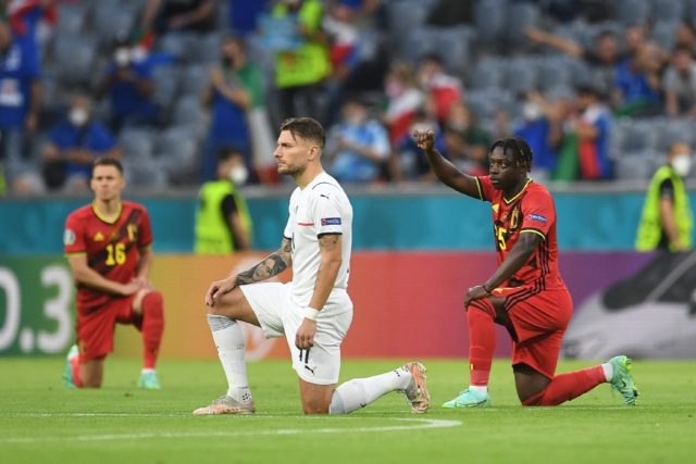 Footballers at the Euro 2020 tournament take a knee in support of the Black Lives Matter campaign against racism