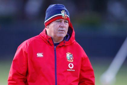 British and Irish Lions head coach Warren Gatland watches a training session near Cape Town this week