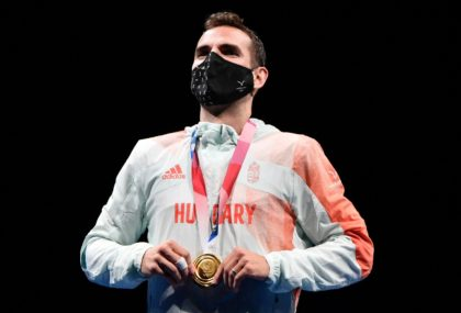 Hungary's Aron Szilagyi made Olympic fencing history with a third straight sabre title