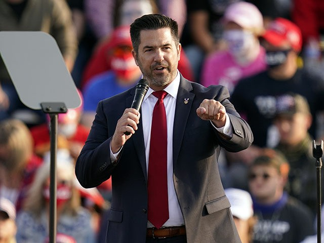 Pennsylvania Republican congressional candidate Sean Parnell speaks ahead of a campaign rally with President Donald Trump Tuesday, Sept. 22, 2020 in Moon Township, Pa. (AP Photo/Keith Srakocic)