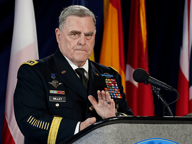 Chairman of the Joint Chiefs of Staff, Gen. Mark Milley, at podium, speaks during a ceremony marking full operation of the NATO's Joint Force Command aboard the USS Kearsarge at Naval Station Norfolk, Thursday , July 15, 2021, in Norfolk, Va. (AP Photo/Steve Helber)