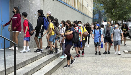 Photo by: STRF/STAR MAX/IPx 2021 8/5/21 As Delta variant spreads, children get ready to return to school. STAR MAX Photo: 8/5/21 Students at the Simon Baruch School in Manhattan.