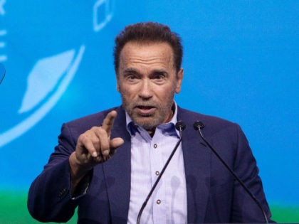 """Austrian-US actor and former US politician Arnold Schwarzenegger speaks on stage during the fifth """"Austrian World Summit 2021"""" on current climate issues, at the Spanish Riding School in Vienna, on July 1, 2021. (Photo by ALEX HALADA / AFP) (Photo by ALEX HALADA/AFP via Getty Images)"""