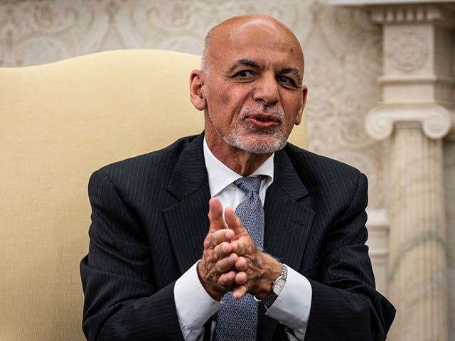 WASHINGTON, DC - JUNE 25: Afghanistan President Ashraf Ghani makes brief remarks during a meeting with U.S. President Joe Biden and Dr. Abdullah Abdullah, Chairman of the High Council for National Reconciliation, in the Oval Office at the White House June 25, 2021 in Washington, DC. Biden announced in April …