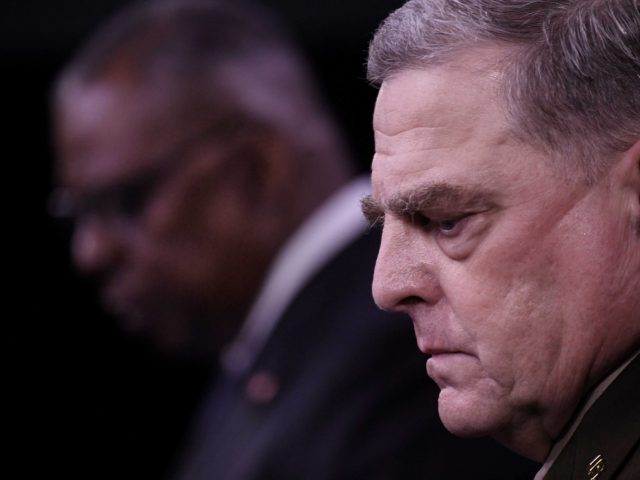 US Defense Secretary Lloyd Austin (L) and Chairman of the Joint Chiefs of Staff, General Mark Milley, hold a press conference about the situation in Afghanistan on August 18, 2021, at The Pentagon in Washington, DC. - Austin said Wednesday that US forces would evacuate as many people as possible …