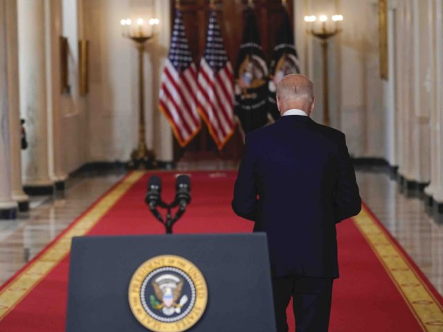 Biden walks away II (Evan Vucci / Associated Press)