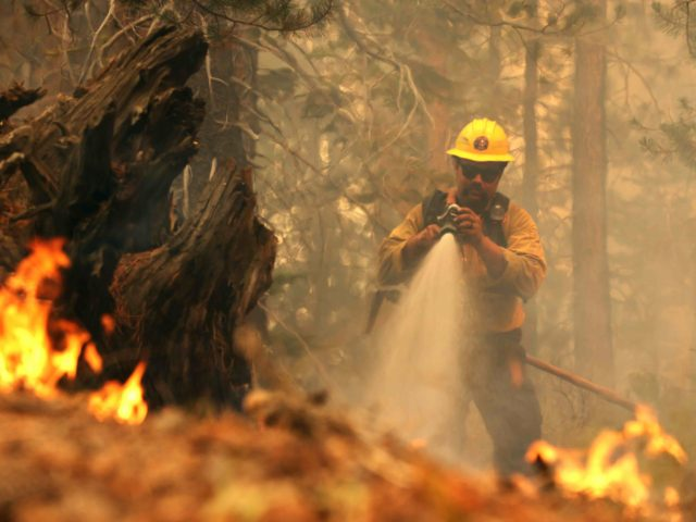 MEYERS, CALIFORNIA - AUGUST 31: A firefighter sprays down hot spots while battling the Caldor Fire on August 31, 2021 in Meyers, California. The Caldor Fire has burned over 190,000 acres, destroyed hundreds of structures and is currently 16 percent contained. (Photo by Justin Sullivan/Getty Images)