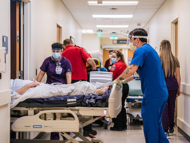 HOUSTON, TEXAS - AUGUST 18: Emergency Room nurses and EMTs tend to patients in hallways at the Houston Methodist The Woodlands Hospital on August 18, 2021 in Houston, Texas. Across Houston, hospitals have been forced to treat hundreds of patients in hallways and corridors as their emergency rooms are being …