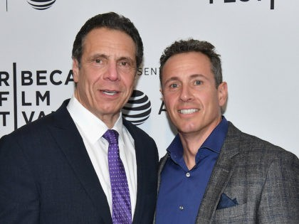 """NEW YORK, NY - APRIL 26: Governor of New York Andrew Cuomo and Chris Cuomo attend a screening of """"RX: Early Detection A Cancer Journey With Sandra Lee"""" during the 2018 Tribeca Film Festiva at SVA"""