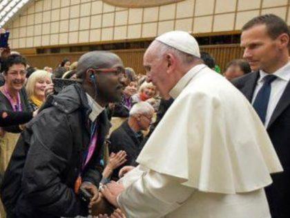 Emmanuel Abayisenga with Pope Francis, 2016