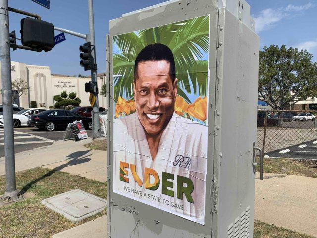 Larry Elder poster in Palisades (Joel Pollak / Breitbart News)