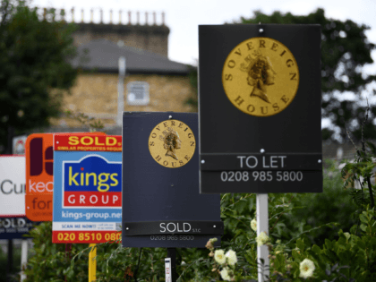 """Estate and rental agents' boards are pictured on a residential street in Hackney, east London on August 9, 2019. - House prices and sales are """"losing momentum"""", surveyors say, although parts of the UK are still seeing property values rise. (Photo by Daniel LEAL-OLIVAS / AFP) (Photo credit should read …"""