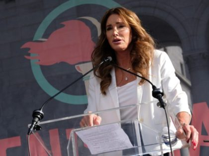 LOS ANGELES, CALIFORNIA - JANUARY 18: Caitlyn Jenner speaks at the 4th Annual Women's March LA: Women Rising at Pershing Square on January 18, 2020 in Los Angeles, California. (Photo by Sarah Morris/Getty Images)