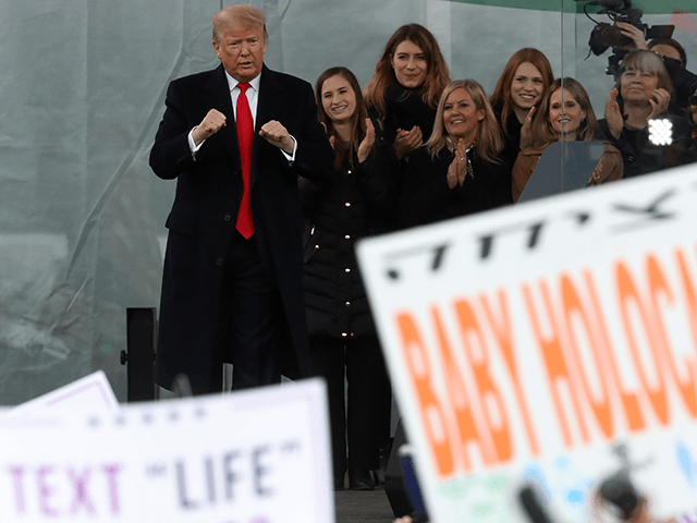 U.S. President Donald Trump speaks at the 47th March For Life rally on the National Mall, January 24, 2019 in Washington, DC. The Right to Life Campaign held its annual March For Life rally and march to the U.S. Supreme Court protesting the high court's 1973 Roe V. Wade decision making abortion legal. (Photo by Mark Wilson/Getty Images)