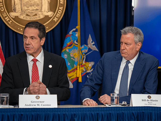 New York state Gov. Andrew Cuomo and New York City Mayor Bill DeBlasio speak during a news conference on the first confirmed case of COVID-19 in New York on March 2, 2020 in New York City. A female health worker in her 30s who had traveled in Iran contracted the …