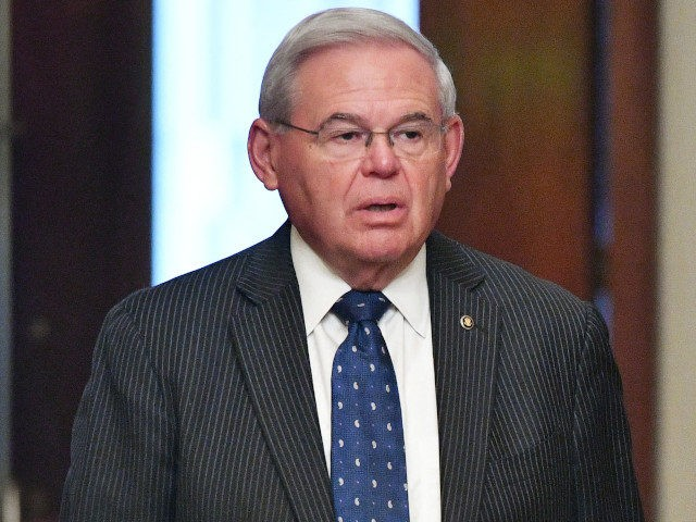Senator Bob Menendez (D-NJ) arrives at the US Capitol for a Senate vote expected on the passage of a massive infrastructure plan in Washington, DC on August 10, 2021. - The 10-year budget blueprint pushes Congress towards the next step in President Joe Biden's ambitious vision for his first term …