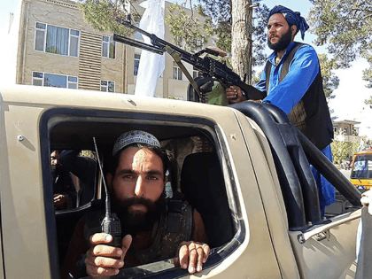 In this picture taken on August 13, 2021, Taliban fighters are pictured in a vehicle along the roadside in Herat, Afghanistan's third biggest city, after government forces pulled out the day before following weeks of being under siege. (Photo by - / AFP) (Photo by -/AFP via Getty Images)