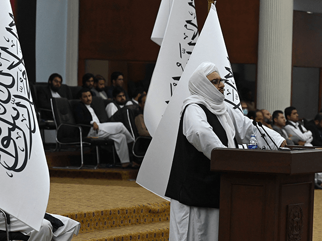 Talibans acting Higher Education Minister Abdul Baqi Haqqani speaks during a consultative meeting on Taliban's general higher education policies at the Loya Jirga Hall in Kabul on August 29, 2021. - Afghan women will be allowed to study at university but there would be a ban on mixed classes under …