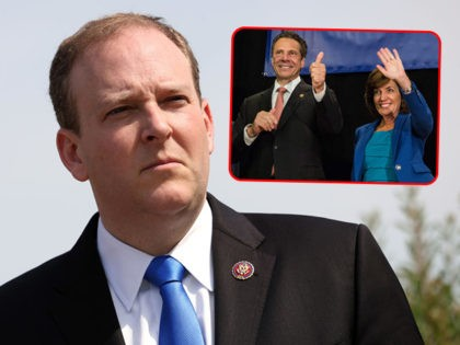 (INSET: Andrew Cuomo and Kathy Hochul) WASHINGTON, DC - MAY 20: Rep. Lee Zeldin (R-NY) attends a press conference on the current conflict between Israel and the Palestinians on May 20, 2021 in Washington, DC. The Republicans voiced their support for Israel and urged the Biden Administration to do the …
