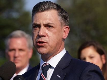 WASHINGTON, DC - JULY 27: U.S. Rep. Jim Banks (R-IN) (C) speaks as House Minority Leader Rep. Kevin McCarthy (R-CA) (L) listens during a news conference in front of the U.S. Capitol July 27, 2021 in Washington, DC. Leader McCarthy held a news conference to discuss the Jan 6th Committee. …