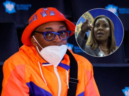 (INSET: Attorney General Letitia James) NEW YORK, NEW YORK - JULY 29: Spike Lee looks on during the 2021 NBA Draft at the Barclays Center on July 29, 2021 in New York City. (Photo by Arturo Holmes/Getty Images)