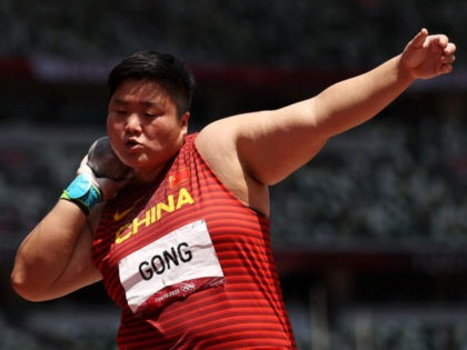 TOKYO, JAPAN - AUGUST 01: Lijiao Gong of Team China competes in the Women's Shot Put Final on day nine of the Tokyo 2020 Olympic Games at Olympic Stadium on August 01, 2021 in Tokyo, Japan. (Photo by Cameron Spencer/Getty Images)