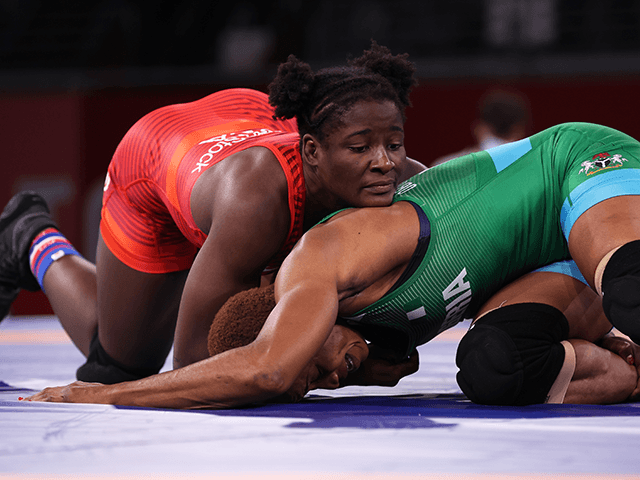 CHIBA, JAPAN - AUGUST 03: Tamyra Mariama Mensah-Stock of Team United States competes against Blessing Oborududu of Team Nigeria during the Women's Freestyle 68kg Gold Medal Match on day eleven of the Tokyo 2020 Olympic Games at Makuhari Messe Hall on August 03, 2021 in Chiba, Japan. (Photo by Tom Pennington/Getty Images)