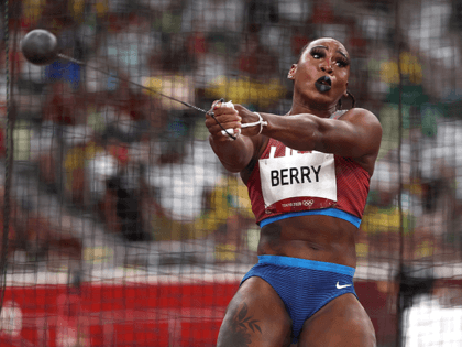 Gwen Berry of Team United States competes in the Women's Hammer Throw Final on day eleven of the Tokyo 2020 Olympic Games at Olympic Stadium on August 03, 2021 in Tokyo, Japan. (Photo by Ryan Pierse/Getty Images)