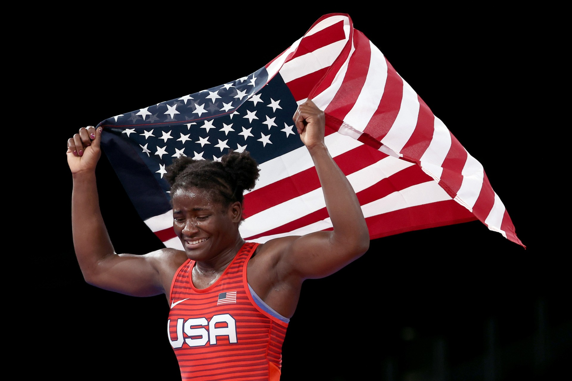 CHIBA, JAPAN - AUGUST 03: Tamyra Mariama Mensah-Stock of Team United States celebrates defeating Blessing Oborududu of Team Nigeria during the Women's Freestyle 68kg Gold Medal Match on day eleven of the Tokyo 2020 Olympic Games at Makuhari Messe Hall on August 03, 2021 in Chiba, Japan. (Photo by Tom Pennington/Getty Images)