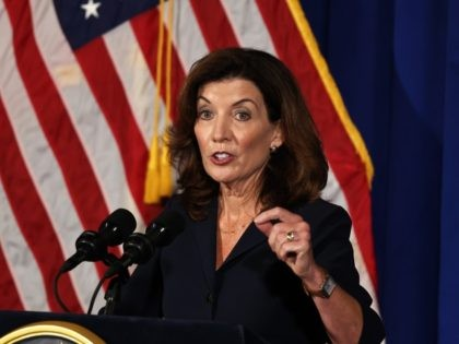 ALBANY, NEW YORK - AUGUST 11: Lt. Gov. Kathy Hochul speaks during a press conference at the New York State Capitol on August 11, 2021 in Albany City. Lt. Gov. and incoming NY Gov. Kathy Hochul gave her first press conference after Gov. Andrew Cuomo announced that he will be …