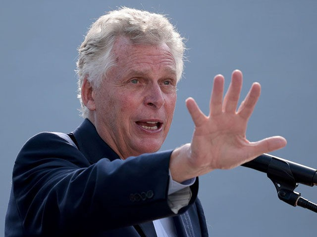 """ALEXANDRIA, VIRGINIA - AUGUST 12: Former Virginia Gov. Terry McAuliffe campaigns for a second term during an event at the Port City Brewing Company August 12, 2021 in Alexandria, Virginia. McAuliffe and Democratic National Committee Chair Jaime Harrison launched the DNC's """"Build Back Better"""" Bus Tour during the event. (Photo …"""