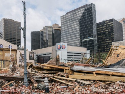 NEW ORLEANS, LOUISIANA - AUGUST 30: A building was destroyed after Hurricane Ida passed through on August 30, 2021 in New Orleans, Louisiana. Ida made landfall as a Category 4 hurricane yesterday in Louisiana and brought flooding and wind damage along the Gulf Coast (Photo by Brandon Bell/Getty Images)