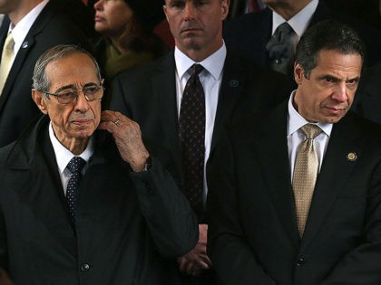 NEW YORK, NY - FEBRUARY 04: New York Governor Andrew Cuomo (R) and his father former Governor Mario Cuomo exit funeral services for former New York Mayor Ed Koch at Manhattan's Temple Emanu-El on February 4, 2013 in New York City.The iconic former New York mayor passed away on February …