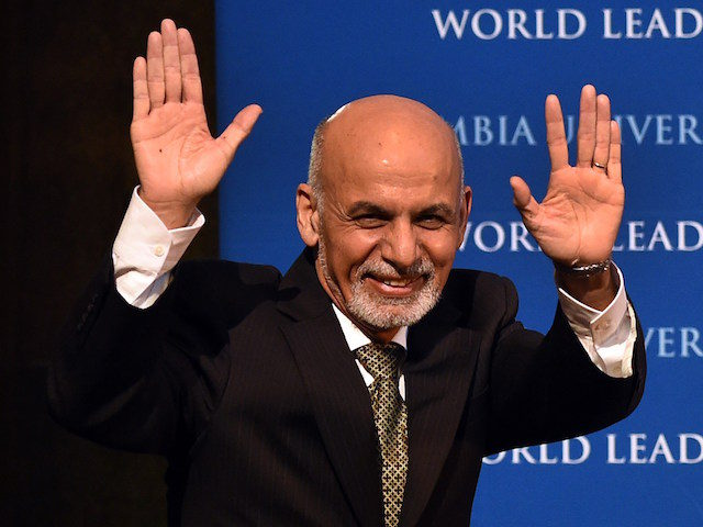 """Afghanistan's President Ashraf Ghani gestures as he arrives to speak at Columbia University in New York on March 26, 2015. Ghani, on his first trip to the United States since he was elected president, spoke at Columbias World Leaders Forum on """"The New Beginning in Afghanistan."""" AFP PHOTO / TIMOTHY …"""