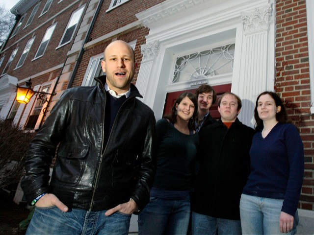 Greg Epstein, left, the humanist chaplain at Harvard University, poses with students after a group meeting on campus in Cambridge, Mass., Friday, March 6, 2009. Harvard students, from left, are sophomore Kelly Bodwin; sophomore Lewis Ward; sophomore Andrew Maher; and sophomore Greta Friar. Epstein envisions local humanist centers nationwide that perform many of the community-building functions of a church, only in service of the humanist creed, which he sums up as a commitment to living ethical, personally fulfilling lives while serving the greater good. (AP Photo/Elise Amendola)