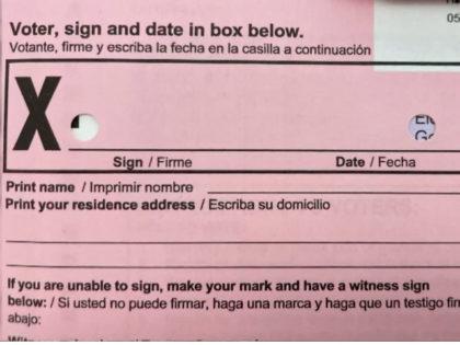 Holes in California Recall Ballot Envelope