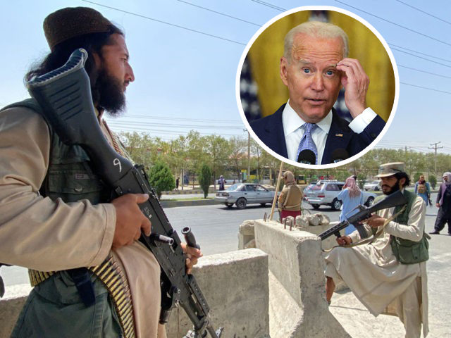 TOPSHOT - Taliban fighters stand guard at an entrance gate outside the Interior Ministry in Kabul on August 17, 2021. (Photo by Javed Tanveer / AFP) (Photo by JAVED TANVEER/AFP via Getty Images) WASHINGTON, DC - AUGUST 12: U.S. President Joe Biden delivers remarks during an East Room event at …