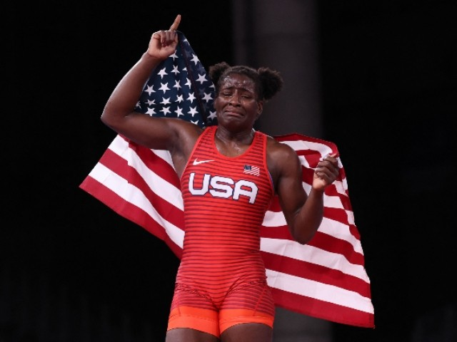 USA's Tamyra Mariama Mensah-Stock celebrates her gold medal victory against Nigeria's Blessing Oborududu in their women's freestyle 68kg wrestling final match during the Tokyo 2020 Olympic Games at the Makuhari Messe in Tokyo on August 3, 2021. (Photo by Jack GUEZ / AFP) (Photo by JACK GUEZ/AFP via Getty Images)
