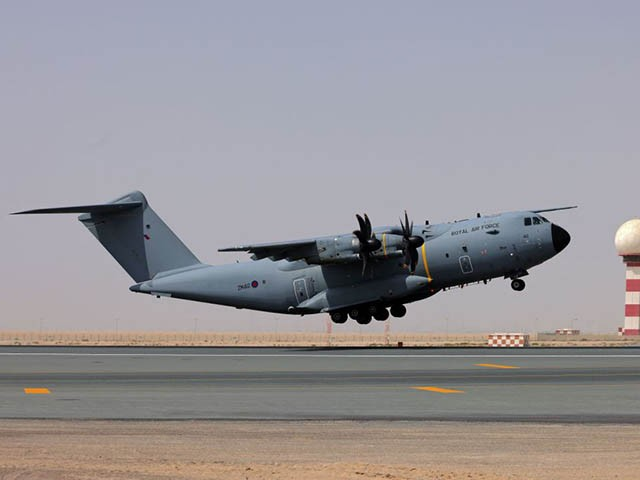 A Royal Air Force Airbus A400M Atlas military transport aircraft, carrying evacuees from Afghanistan, departs from Al-Maktoum International Airport in the United Arab Emirates on August 19, 2021. - Britain's operation to evacuate its nationals and protected individuals stepped up on August 19, with planes landing in Dubai before passengers travel on to the UK. At south Dubai's Al-Maktoum airport, a Royal Air Force transport plane carrying evacuees from Afghanistan took off around 1040 GMT with another batch of UK-bound passengers due in from Kabul shortly afterwards, an AFP correspondent saw. (Photo by Giuseppe CACACE / AFP) (Photo by GIUSEPPE CACACE/AFP via Getty Images)
